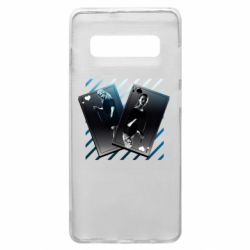 Чехол для Samsung S10+ Gambling Cards The Witcher and Cyrilla