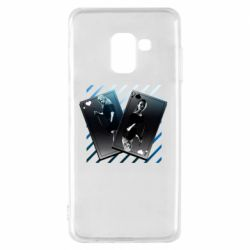 Чехол для Samsung A8 2018 Gambling Cards The Witcher and Cyrilla