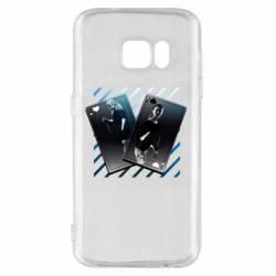 Чехол для Samsung S7 Gambling Cards The Witcher and Cyrilla