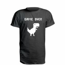 Удлиненная футболка Game over dino from browser