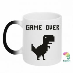 Кружка-хамелеон Game over dino from browser