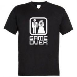 Мужская футболка  с V-образным вырезом Game Over - FatLine