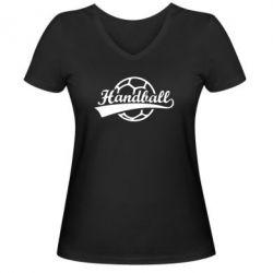 Женская футболка с V-образным вырезом Гандбол Лого - FatLine