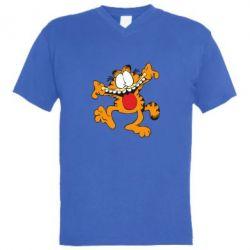 Мужская футболка  с V-образным вырезом Гарфилд кривляка - FatLine