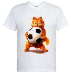 Купить Мужская футболка с V-образным вырезом Гарфилд любит футбол, FatLine