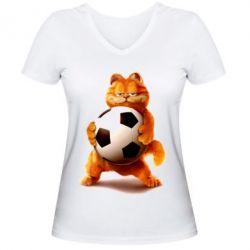 Купить Женская футболка с V-образным вырезом Гарфилд любит футбол, FatLine