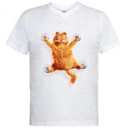 Купить Мужская футболка с V-образным вырезом Гарфилд прилип), FatLine
