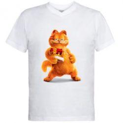 Купить Мужская футболка с V-образным вырезом Гарфилд с короной, FatLine