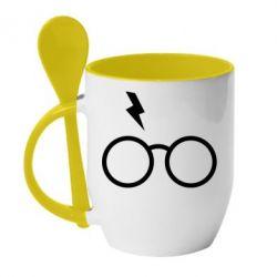 Кружка з керамічною ложкою Гаррі Поттер лого