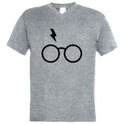 Чоловіча футболка з V-подібним вирізом Гаррі Поттер лого