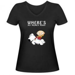 Жіноча футболка з V-подібним вирізом Де мої гроші - FatLine