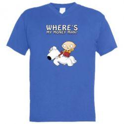 Чоловіча футболка з V-подібним вирізом Де мої гроші - FatLine