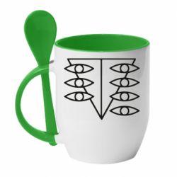 Кружка с керамической ложкой Genesis Evangelion Seele logo