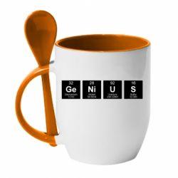 Кружка з керамічною ложкою Genius