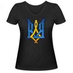 """Женская футболка с V-образным вырезом Герб """"Арт"""" - FatLine"""