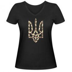 Женская футболка с V-образным вырезом Герб Хаки - FatLine