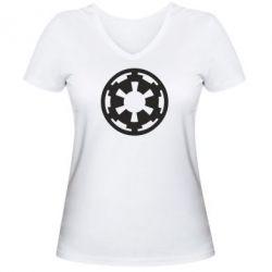 Женская футболка с V-образным вырезом Герб Империи - FatLine