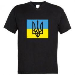 Мужская футболка  с V-образным вырезом Герб на прапорі - FatLine