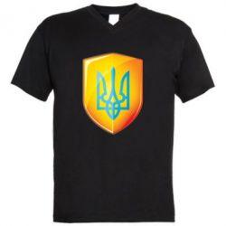 Мужская футболка  с V-образным вырезом Герб на щиті - FatLine