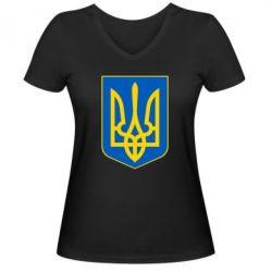 Женская футболка с V-образным вырезом Герб неньки-України - FatLine