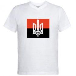 Мужская футболка  с V-образным вырезом Герб Правого Сектору - FatLine