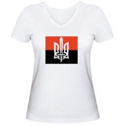 Женская футболка с V-образным вырезом Герб Правого Сектору - FatLine