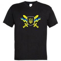 Мужская футболка  с V-образным вырезом Герб та мечи - FatLine