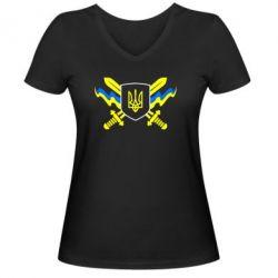 Женская футболка с V-образным вырезом Герб та мечи - FatLine