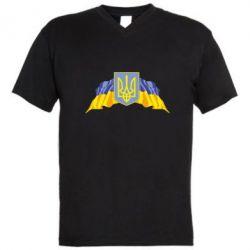 Мужская футболка  с V-образным вырезом Герб та прапор - FatLine