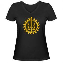 Женская футболка с V-образным вырезом Герб у сонці