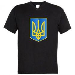 Мужская футболка  с V-образным вырезом Герб України 3D - FatLine