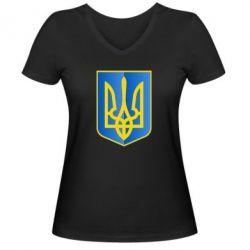 Женская футболка с V-образным вырезом Герб України 3D - FatLine