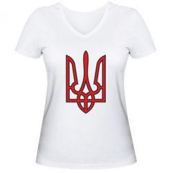 Женская футболка с V-образным вырезом Герб України (двокольоровий) - FatLine