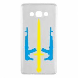 Чохол для Samsung A7 2015 Герб України з автоматами та мечем