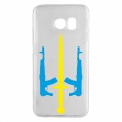 Чохол для Samsung S6 EDGE Герб України з автоматами та мечем