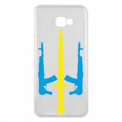 Чохол для Samsung J4 Plus 2018 Герб України з автоматами та мечем