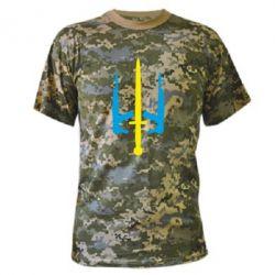 Камуфляжна футболка Герб України з автоматами та мечем