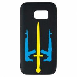 Чохол для Samsung S7 Герб України з автоматами та мечем