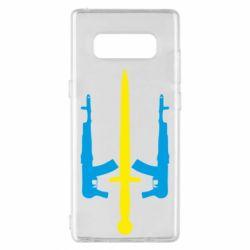 Чохол для Samsung Note 8 Герб України з автоматами та мечем
