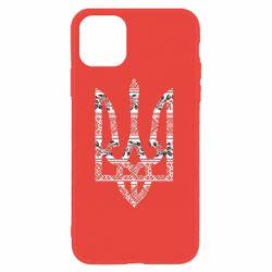 Чехол для iPhone 11 Герб України з національніми візерунками