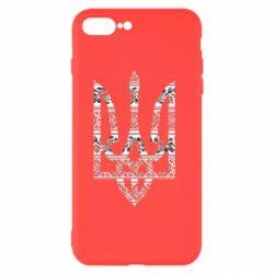 Чехол для iPhone 8 Plus Герб України з національніми візерунками