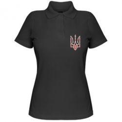 Женская футболка поло Герб України з національніми візерунками - FatLine
