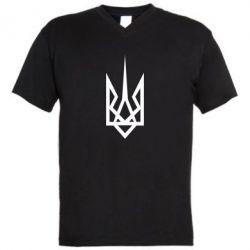 Мужская футболка  с V-образным вырезом Герб України загострений - FatLine