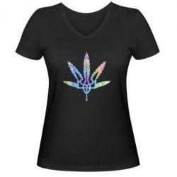 Женская футболка с V-образным вырезом Герб Украины Каннабис Голограмма