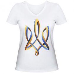 Женская футболка с V-образным вырезом Герб Украины Лента - FatLine