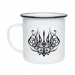 Кружка емальована Герб України монограма