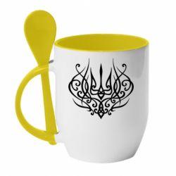 Кружка з керамічною ложкою Герб України монограма