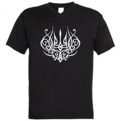 Чоловіча футболка з V-подібним вирізом Герб України монограма