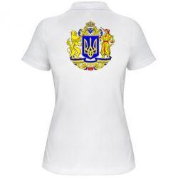Женская футболка поло Герб Украины полноцветный - FatLine