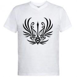 Чоловіча футболка з V-подібним вирізом Герб України у вигляді арфи